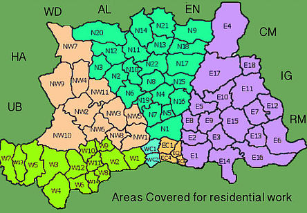 Areas Covered for residential work